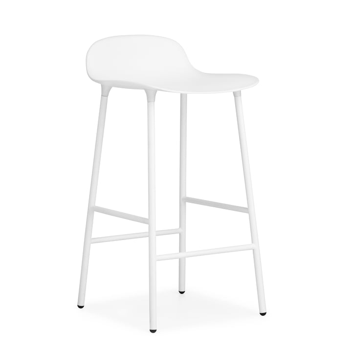 Form barstol (65 cm) af Normann Copenhagen i hvid med stålramme