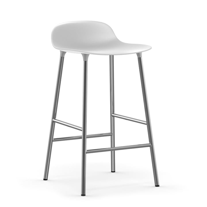 Form barstol 65 cm krom af Normann Copenhagen i hvidt