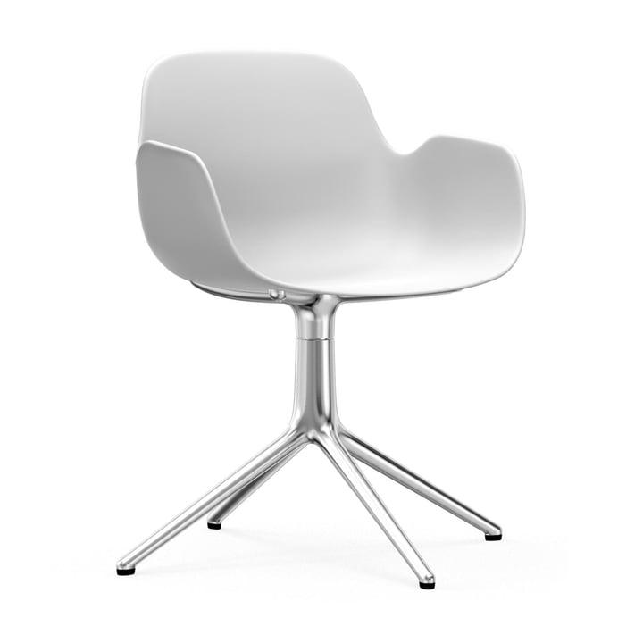 Form svingbar lænestol fra Normann Copenhagen i aluminium / hvid