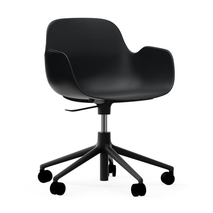 Formkontor drejelig lænestol fra Normann Copenhagen i aluminium sort / sort