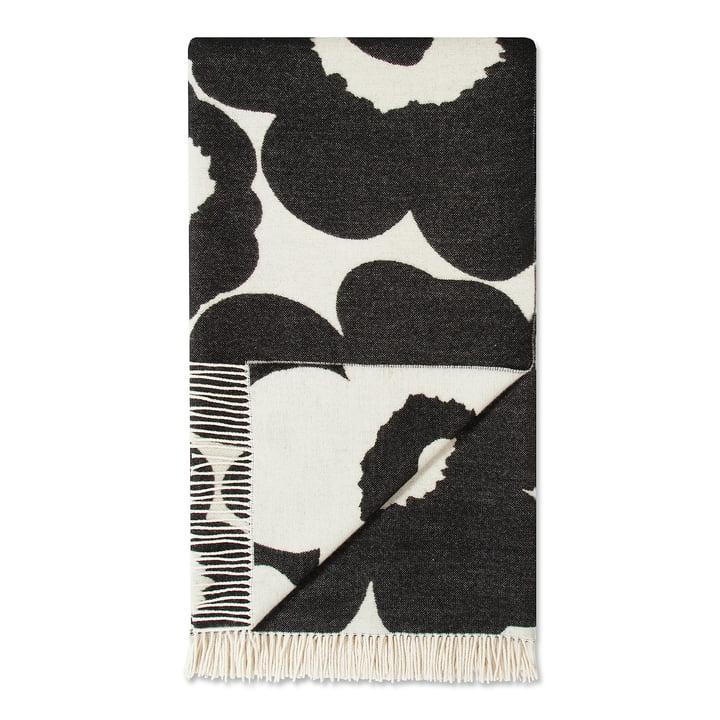 Unikko tæppe 130 x 200 cm fra Marimekko i sort/hvid (Vinter 2017)