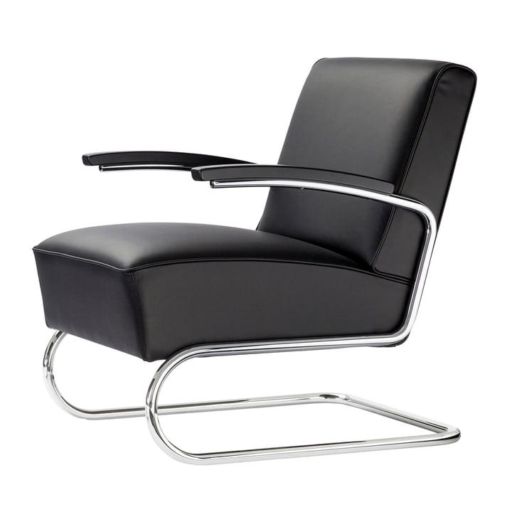 S 411 lænestol fra Thonet i krom / læder sort / bøg sort