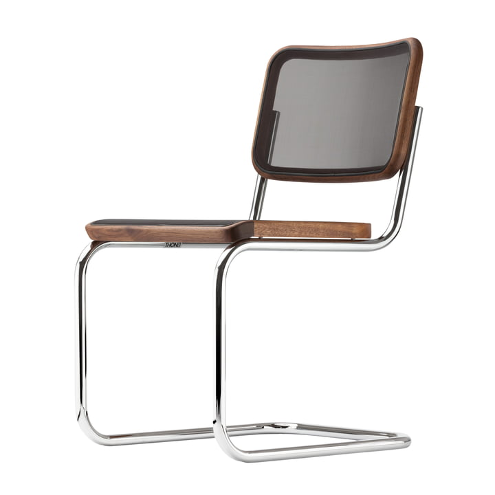 S 32 N stolen fra Thonet i krom/olieret valnøddetræ/sort trådnet (rene materialer)