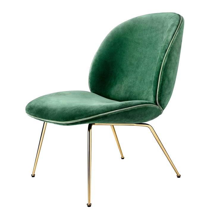 Gubi – Beetle spisebordsstol, konisk stel, messing/velour (grøn)