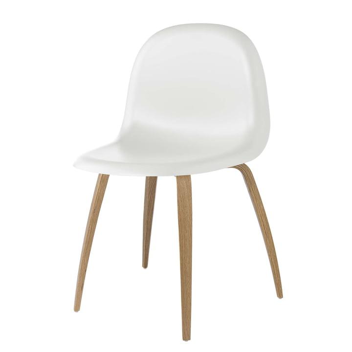 3D spisebordsstol træ base af Gubi i eg / hvid sky