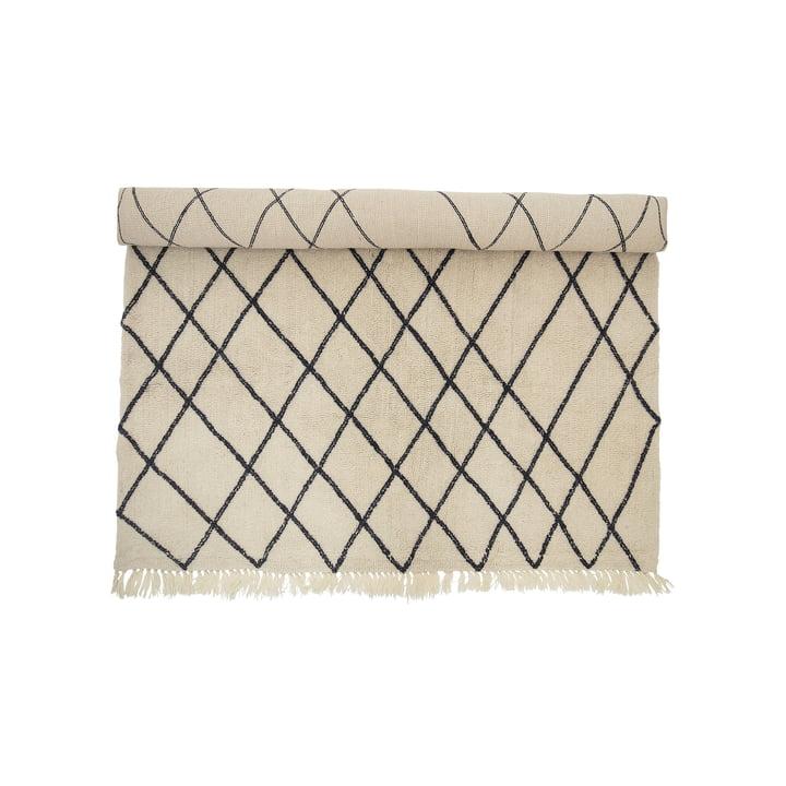 Uldtæppe 300 x 200 cm med diamantmønster fra Bloomingville i beige/sort