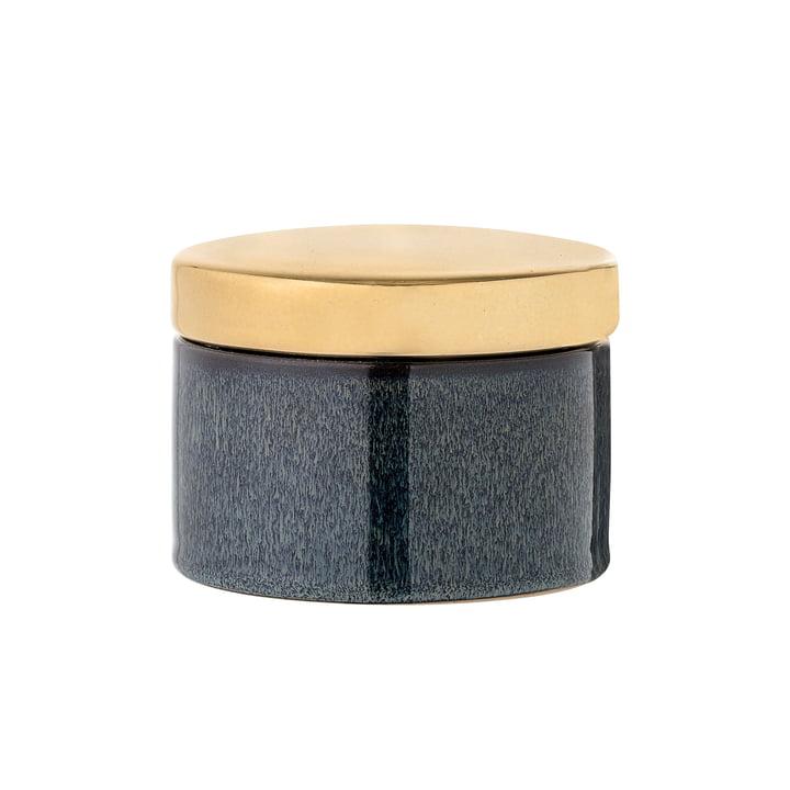 Bloomingville – opbevaringskrukke Ø 11 x H 8 cm i blå/guld