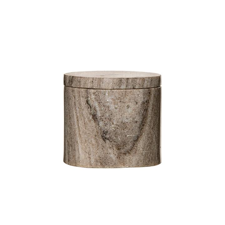 Opbevaringsboks med låg i marmor Ø 10 x H 9 cm fra Bloomingville i sandfarvet marmor
