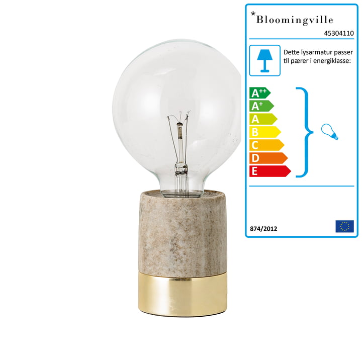 Bordlampe fra Bloomingville i beige marmor/messing