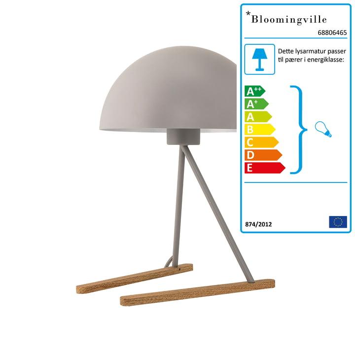 Bordlampe fra Bloomingville i lysegråt metal/eg