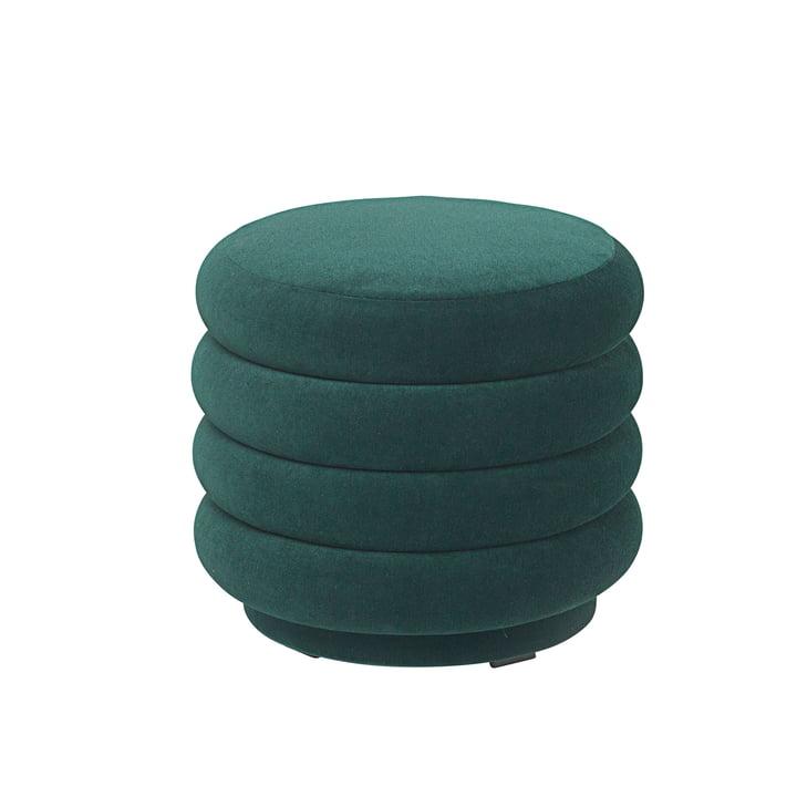 Ferm LIVING – rund puf, Ø 42 x H 40 cm, mørkegrøn
