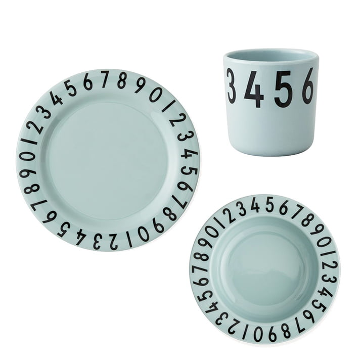 Melamin spisestel The Numbers fra Design Letters i grøn