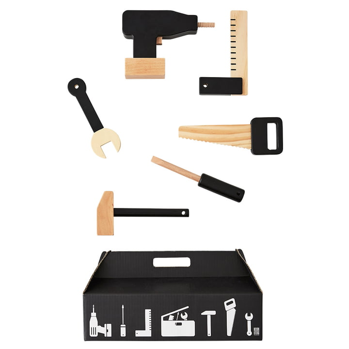 Tool School værktøjssæt (6 dele) fra Design Letters i sort