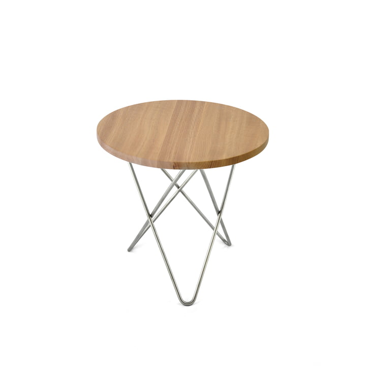 Mini O sidebord Ø 40 cm, rustfrit stål/eg