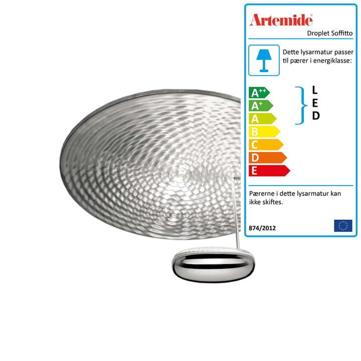 Artemide - Dråbe Soffitto LED loftslampe, krom / aluminiums grå