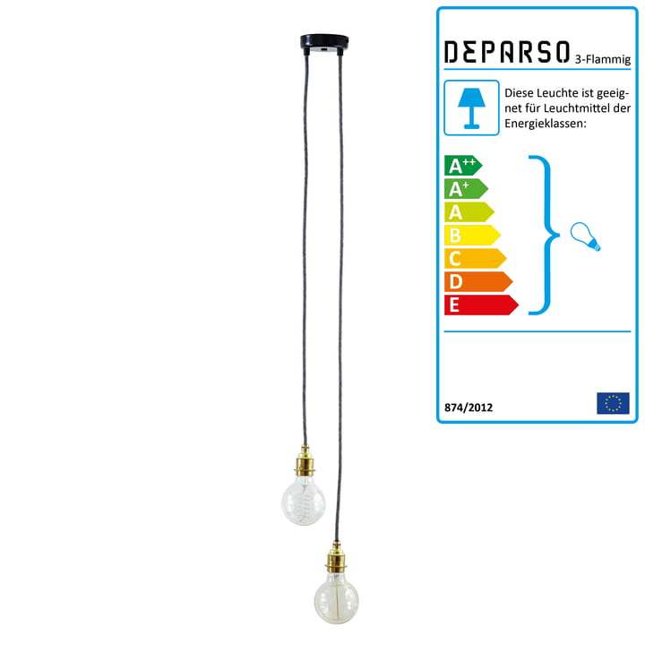 Deparso - Pendel lampe 2-Flammig, messing / grå