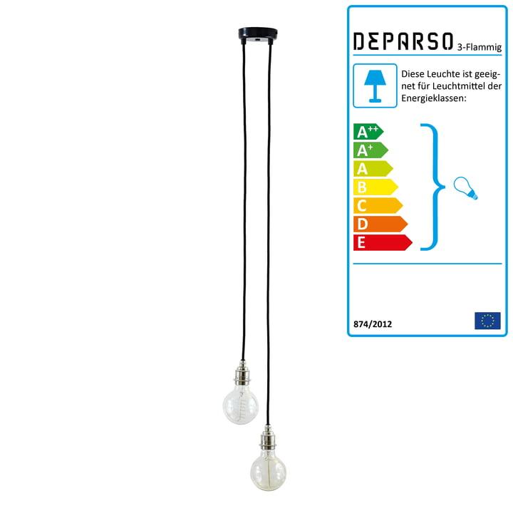 Deparso - Pendel lampe 2-Flammig, krom / sort