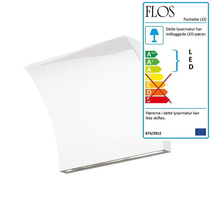 Pochette Up/Down LED-væglampe fra Flos i hvid