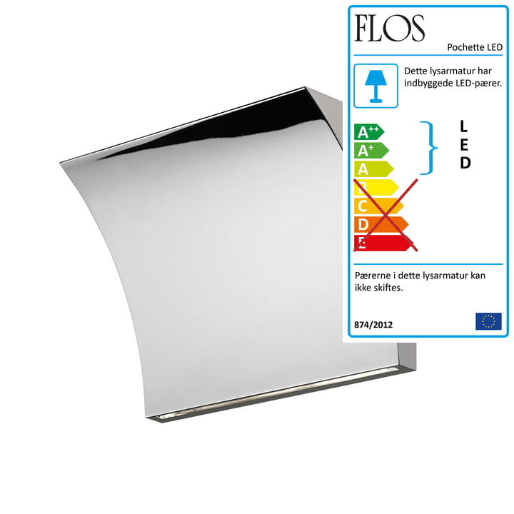 Pochette Up/Down LED-væglampe fra Flos i krom