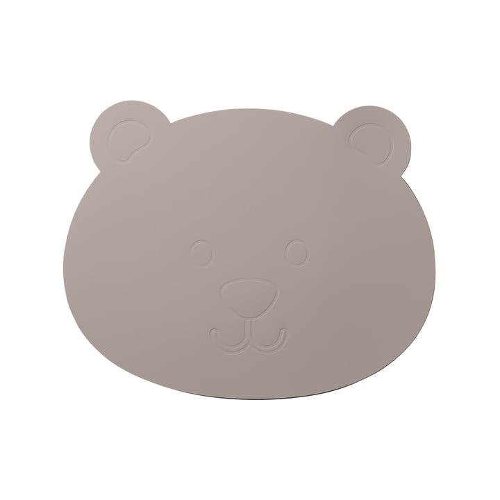 LindDNA - Kids Placemat Bear i Softbuck cool grå