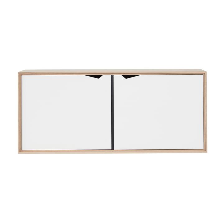 Andersen Furniture – S2 vægmodul med to låger, sæbebehandlet eg/hvid laminat