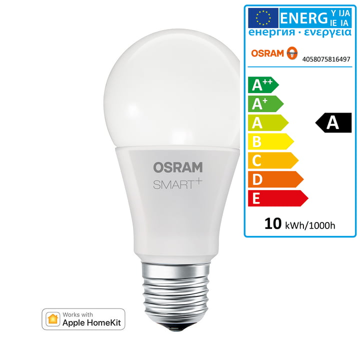 Osram – SMART+ Classic A60 RGBW E27 LED-pære i flere farver til Apple Home Kit