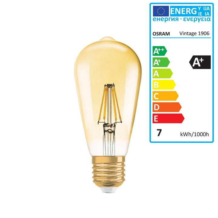 Vintage 1906 Classic Edison LED-pære, 6,5 W/E27, varm hvid 2400 K, med lysdæmpning fra Osram