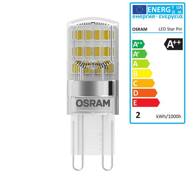 Osram – Star Pin 20 LED-pære, G9/230 V, 1,9 W, varm hvid 2700 K, 200 lm, klar