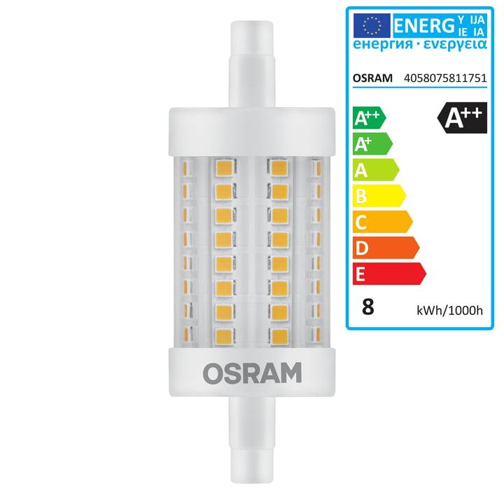 Osram – Superstar Line 78 LED-pære, R7s/8 W, varm hvid 2700 K, 1055 lm, klar