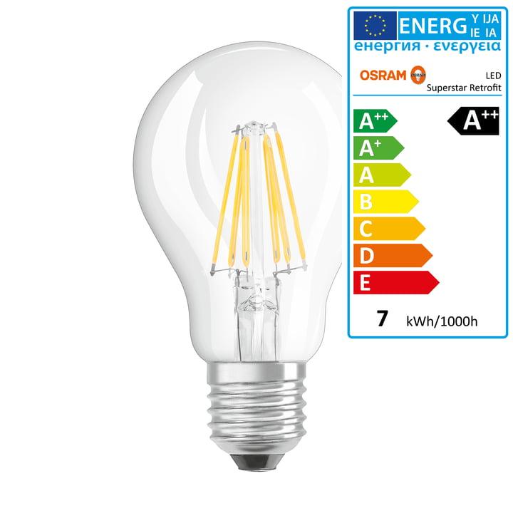 Osram – Retrofit Classic A60 LED-glødetrådspære, E27/6,5 W, varm, hvid, 2700 K, 806 lm, dæmpbar/mat