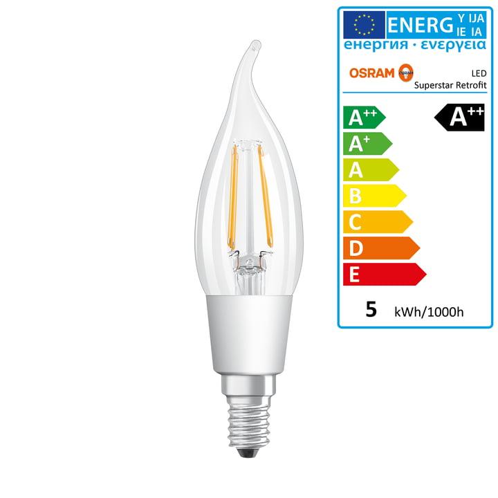 Osram – Retrofit Classic BA40 LED-glødetrådspære, E14/4,5 W, varm, hvid, 2700K, 470 lm, dæmpbar/klar