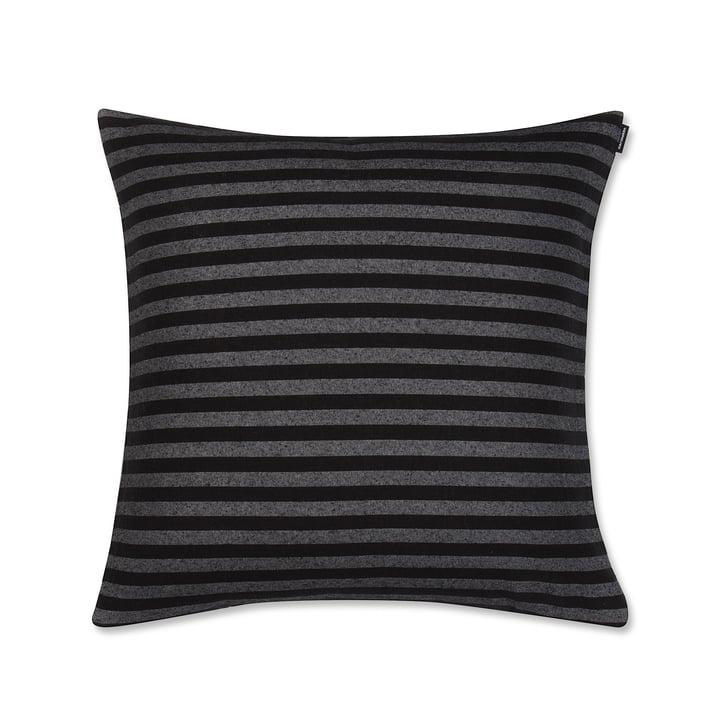 Tasaraita pudebetræk 50 x 50 cm fra Marimekko i sort/grå