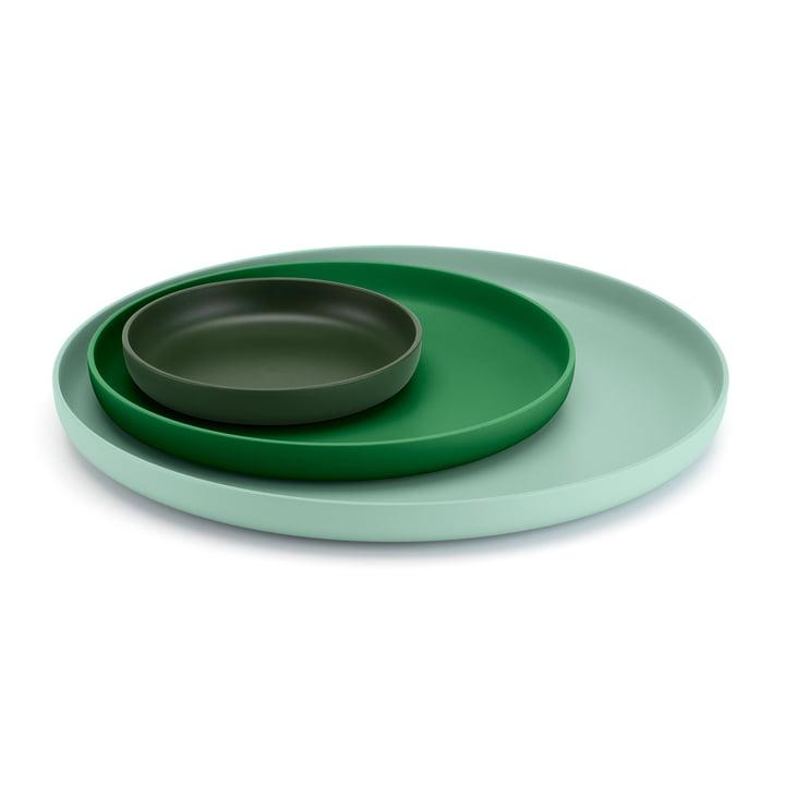 Vitra – bakker, grøn (sæt med 3)
