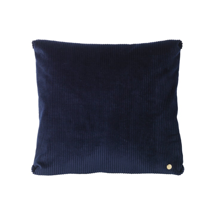 Corduroy pude, 45 x 45 cm, fra ferm LIVING i marineblå