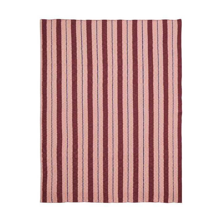 Pinstripe tæppe fra ferm LIVING i lyserød