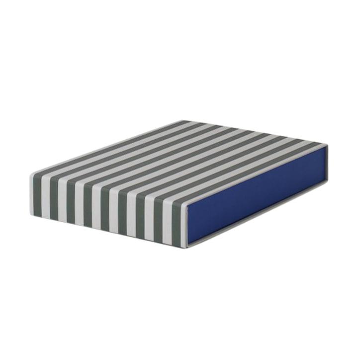 Striped Box kvadratisk fra ferm LIVING i grøn/cremehvid