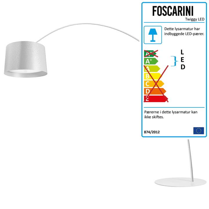 Foscarini – Twice as Twiggy LED-svanehalslampe (kan dæmpes), hvid