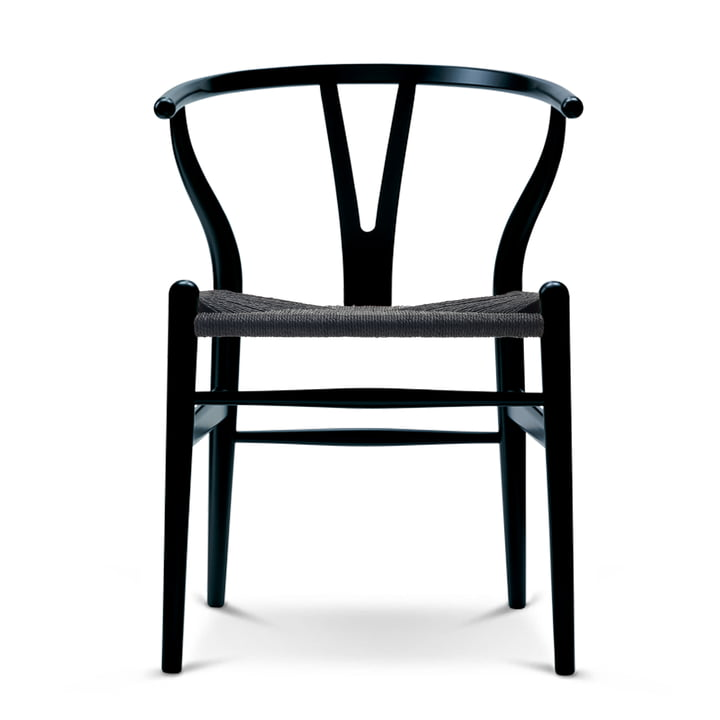 Carl Hansen - CH24 Wishbone Chair, bøg sort / sort kurv