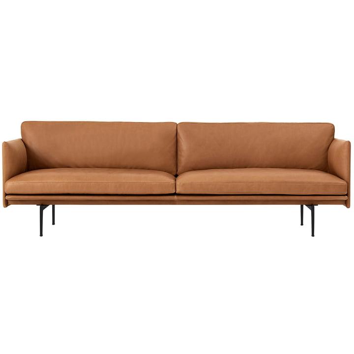 Outline 3-pers. Sofa fra Muuto i cognac silke læder / sort (RAL 9017)