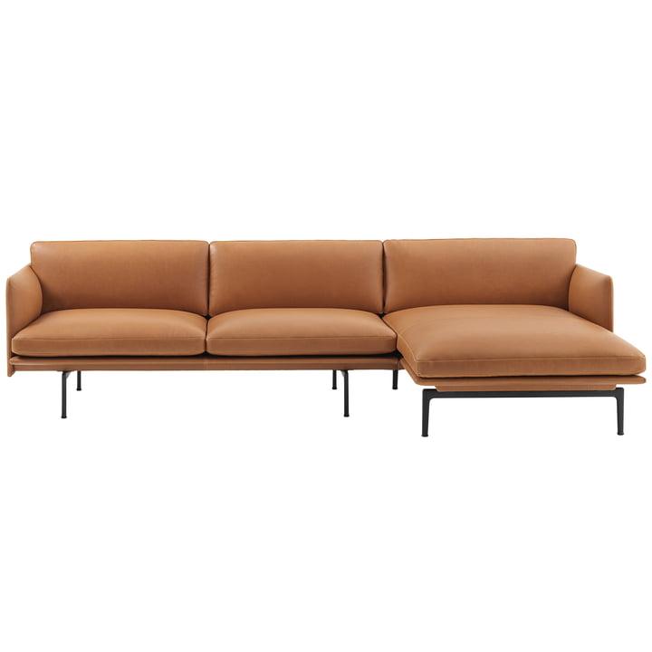 Skitse 3er hjørne sofa lige fra Muuto i cognac Silke Læder / sort (RAL 9017)