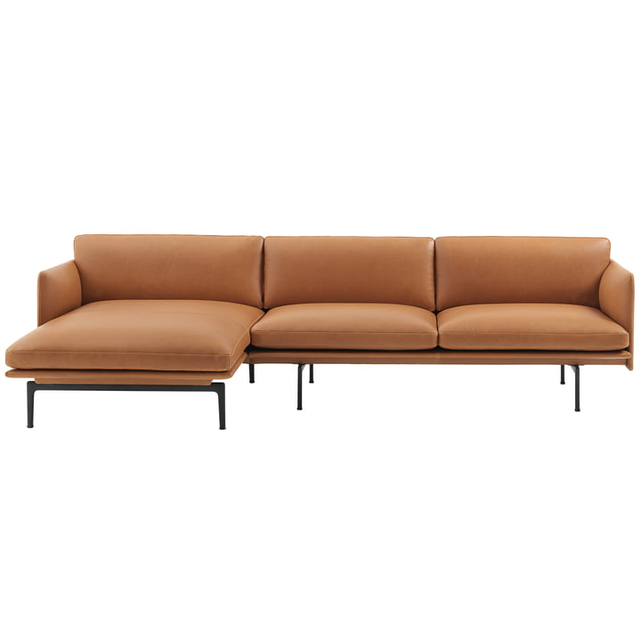 Muuto – Outline 3-personers sofa med højrevendt chaiselong, cognacfarvet læder/trafiksort (RAL9017) (EU)