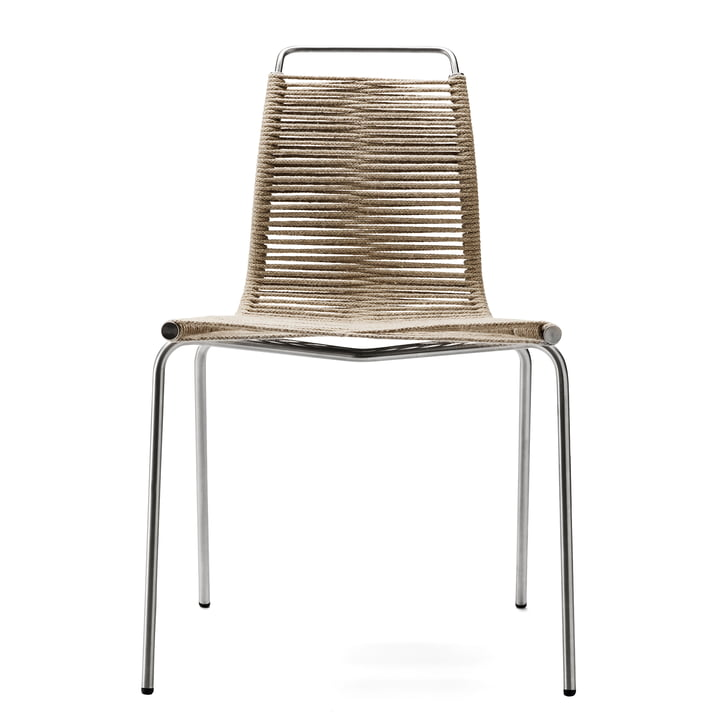 Carl Hansen – PK1 spisebordsstol, forkromet stål/flagline i natur