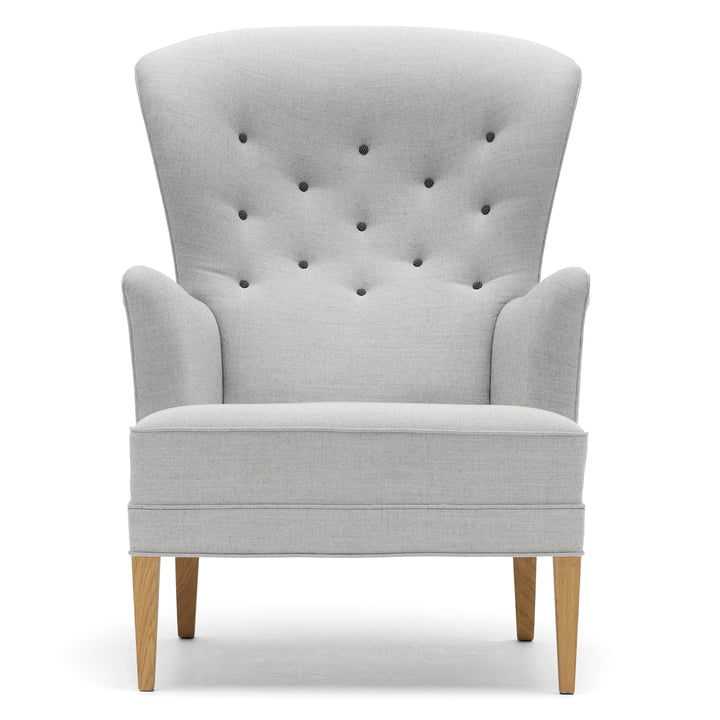 Carl Hansen – FH419 Heritage Chair, olieret eg/lysegrå (Kanvas 124/Hallingdal 126 knapper)