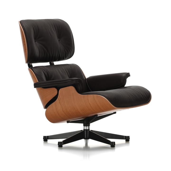 Vitra – loungestol, poleret / sorte sidepaneler, kirsebær, læder premium nero, Filtpuder (klassisk størrelse)