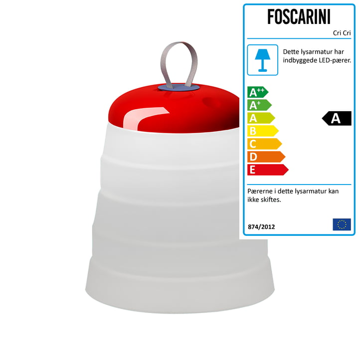 Cri Cri batteridrevet lampe fra Foscarini, rød