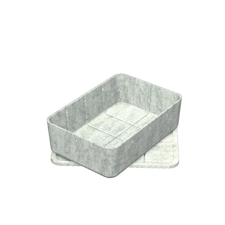 Inos Box med bakke, 22,3 x 32,2 cm, H 9,5 cm af USM Haller i lysegrå