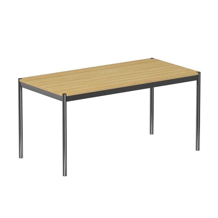 USM Haller – bord 150 x 75 cm, forkromet stålramme/bordplade i fineret eg, naturlig overflade