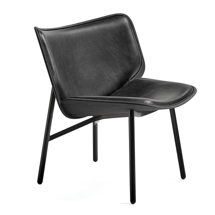 Dapper Lounge Chair fra Hay i silkelæder SIL0842/sortbejdset eg/sort
