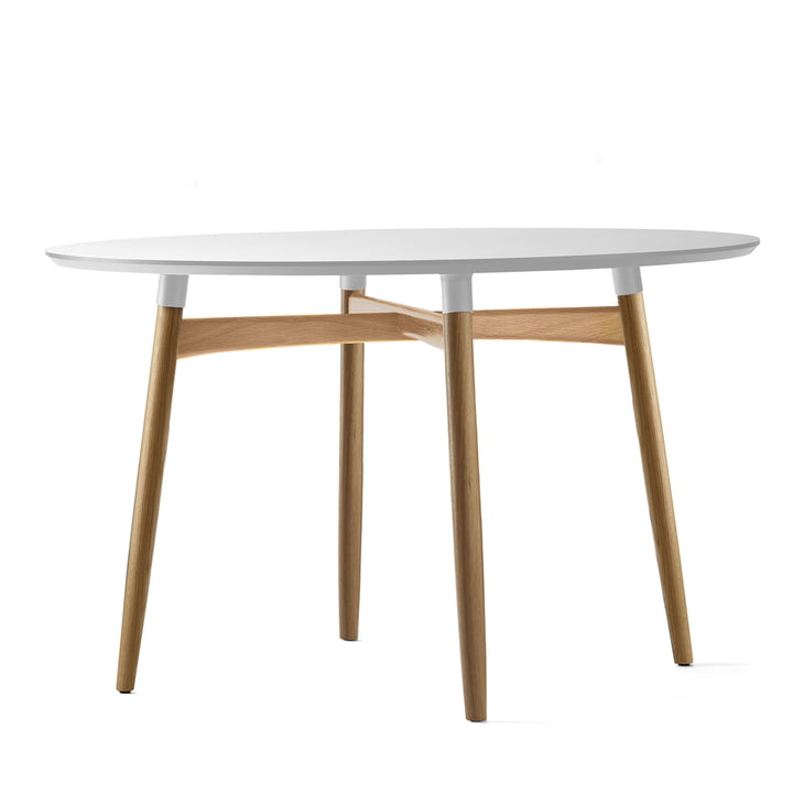 Carl Hansen – BA103 Preludia spisebord Ø 120 cm, hvid laminat/eg