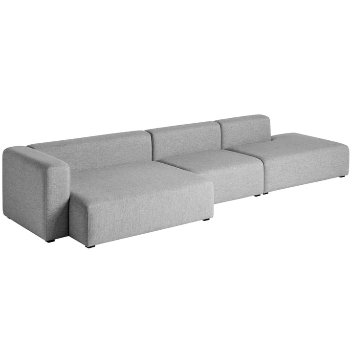 Hay – Mags Sofa, 3-personers, kombination 2, armlæn venstre grå (Hallingdal 116)